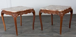 French Style Marble Top Occasional Tables, Pair