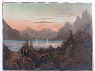 Mikhail Larionov Lake Ritza Scene Oil On Canvas