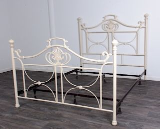 Shabby Chic White Metal Bed
