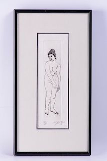 Walter Spitzer Engraving of Standing Nude