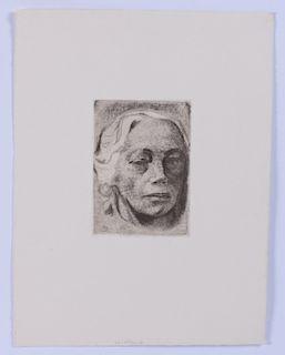 Kathe Kollwitz 1936 Engraved Self Portrait