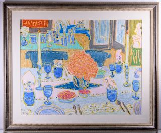 Molly J. Schiff Dining Scene Mixed Media on Paper