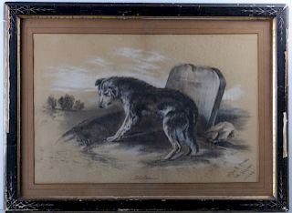 Charcoal Drawing, 1882 Dog and Headstone