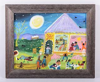 "Julie Schronk ""Joe's Juke Joint"" Folk Art Acrylic"