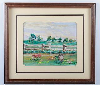 """Charles J. White """"Backyard Fire"""" Folk Art Oil"""