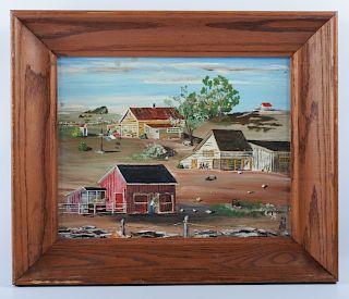 """Charles J. White """"Farm Buildings"""" Folk Art Oil"""