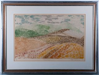 """Ruth Kerkovius """"Tended Land"""" #9/30 1972 Lithograph"""