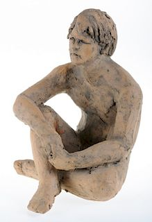 Pottery Sculpture of Seated Male