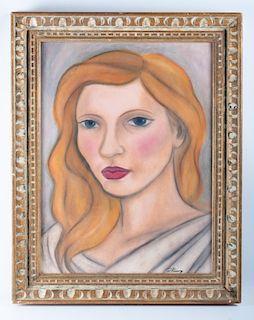 Diego Rivera Attributed Veronica Lake Portrait