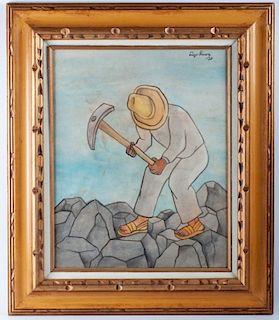"""Diego Rivera Attributed """"Picapedrero"""" Watercolor"""