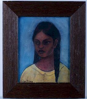 "Diego Rivera ""Lupita"" Charcoal & Pastel Drawing"