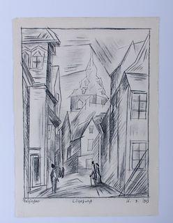Lyonel Feininger Luneburg, Germany Drawing