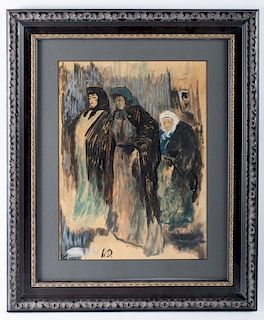 Honore Daumier Three Females Figures Watercolor