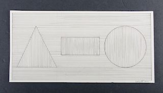 Sol LeWitt Pencil On Paper Geometric Drawing