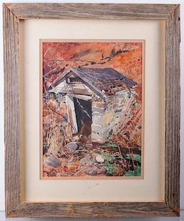 Henry Kaneps Springhouse Scene Watercolor on Paper