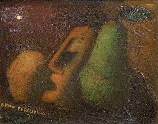 Remo Farruggio Surrealist Still Life Oil on Board
