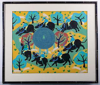 Tadashi Asoma Yak Riders Scene Acrylic on Paper