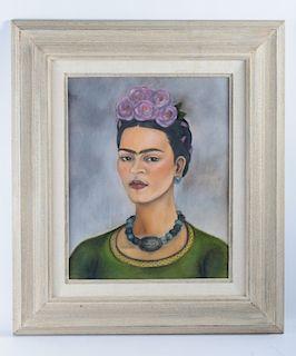 "Frida Kahlo ""Autorretrato"" Mixed Media Drawing"