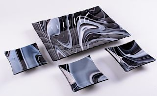 Fused Glass Serving Dish & Bowls by Connie Zazakos
