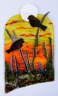 Fused Art Glass Plaque, Signed Connie Zazakos