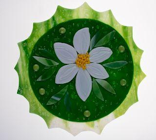 Fused Art Glass Plate, Signed Connie Zazakos