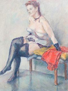 Evelyn Metzger Semi Nude Portrait Oil On Masonite