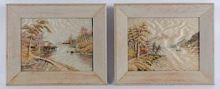 Japanese Silk Landscape Embroideries
