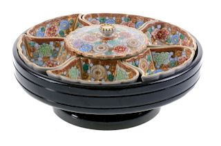 Genuine Kutani Carousel Condiment Bowls & Tray