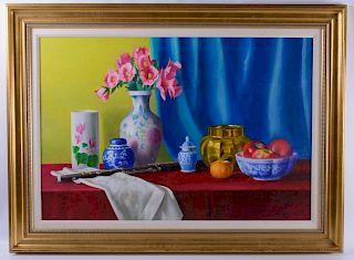 "Louis Richards ""Blue Jars and Vase"" Oil Painting"
