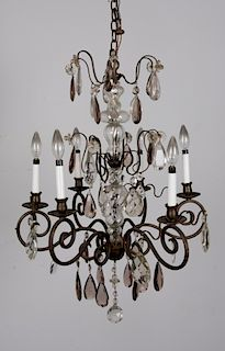 Brass & Blown Glass Chandelier