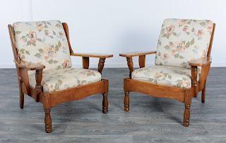 J.B Van Sciver Open Arm Chairs Pair