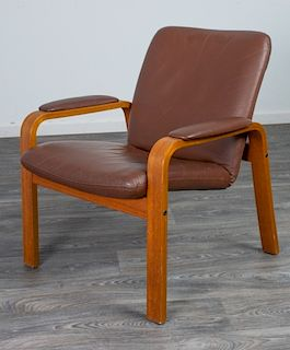 Ekornes Style Leather and Oak Lounge Chair