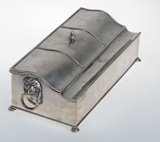 English Sheffield Silver Plate Double Inkwell