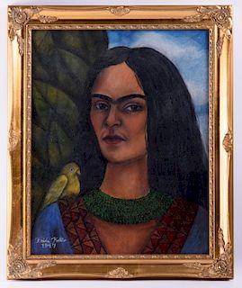 "Frida Kahlo ""Autorretrato"" Mixed Media On Paper"