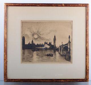 "Elias M. Grossman ""Sunset on the Thames"" Engraving"