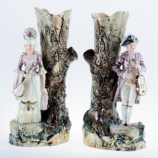 Faience Spill Vases Musical Couple Pair
