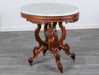 Eastlake Style Marble Top Parlor Table