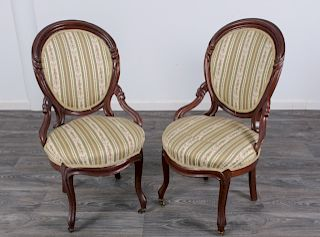 Rococo Revival Hip Rest Parlor Chairs