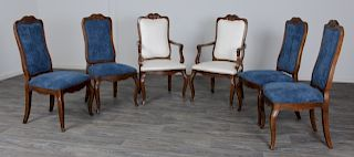 Hickory Upholstered Dining Chairs, 6 Pieces