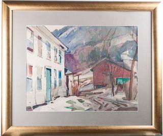 William Stevens Homestead & Barn Scene Watercolor