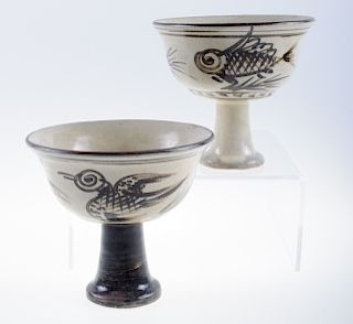 Chinese Porcelain Stem Cups Pair