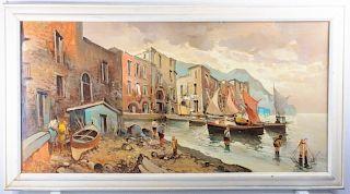 Gardner, Massachusetts Harbor Scene Oil On Canvas