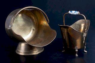 Brass Ash Bucket & Log Holder Duo