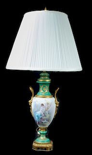 C. Velly Sevres Porcelain Lamp, Cupid & Psyche