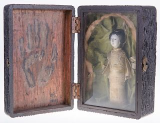 Japanese Doll in Shadowbox, Signed