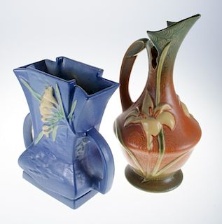 """Roseville Pottery """"Zephyr Lily' & """"Freesia"""" Duo"""
