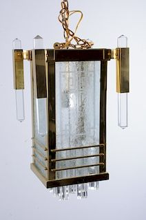Art Deco Style Brass Hanging Lantern