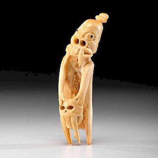 *Greenland Eskimo Fossilized Walrus Ivory Tupilak