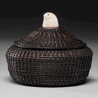 *Eskimo Baleen Basket with Walrus Ivory Finial