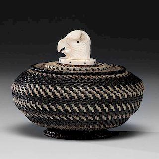 *W. Nashookpuk Sr. (Inuit, 20th century) Baleen Basket with Walrus Ivory Finial